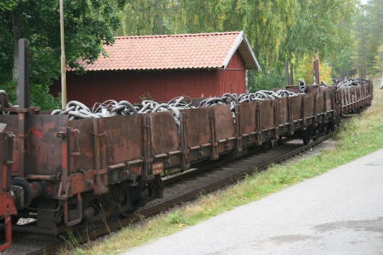 One of many railway wagons leaving Ramnäs Bruk this autumn